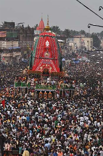 Festivals- Jagannath Rath Yatra (Odisha) - Richly decorated chariot of Lord Balbhadra commemorates the procession from Jagannath temple to Gundicha Temple, for Jagannath Rath Yatra festival at Puri, Odisha, India.