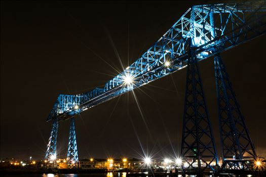 Transporter Bridge Post Clarence At Night by AJ Stoves Photography