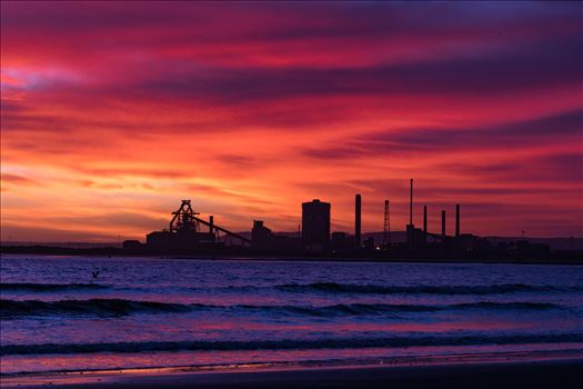 SSI Redcar Steel Works Sunrise, Red sky in the Morning by AJ Stoves Photography