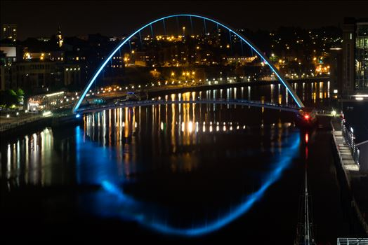 Millenium Bridge at night Newcastle by AJ Stoves Photography