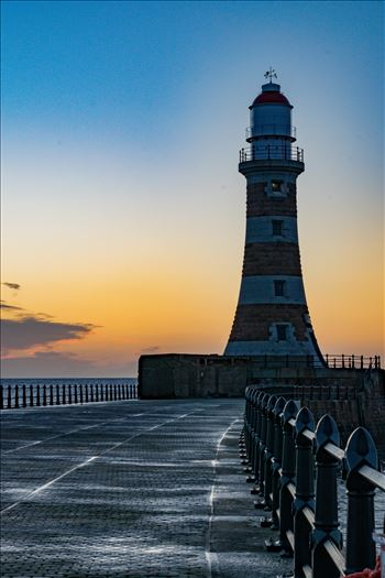 Roker Sunrise Lighthouse, at first light by AJ Stoves Photography
