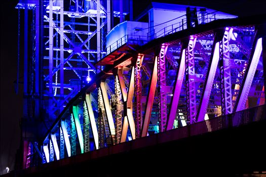 Newport Bridge Rainbow Lights Close up by AJ Stoves Photography