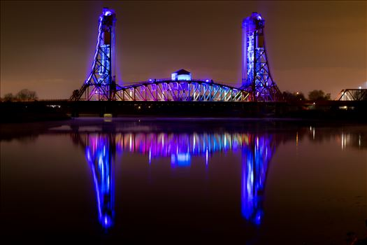 Newport Bridge Rainbow Lights Reflection by AJ Stoves Photography