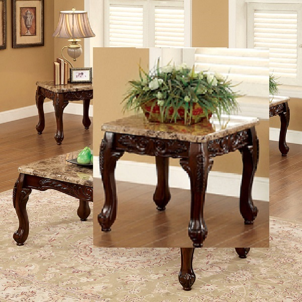 dark cherry 3 piece table set coffee end tables marble accent sofa furniture new ebay. Black Bedroom Furniture Sets. Home Design Ideas