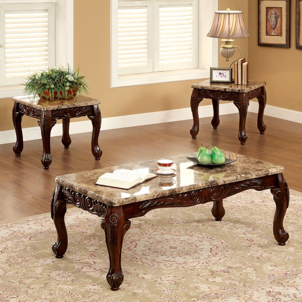 Dark Cherry 3 Piece Table Set Coffee End Tables Marble Accent Sofa Furniture New Ebay
