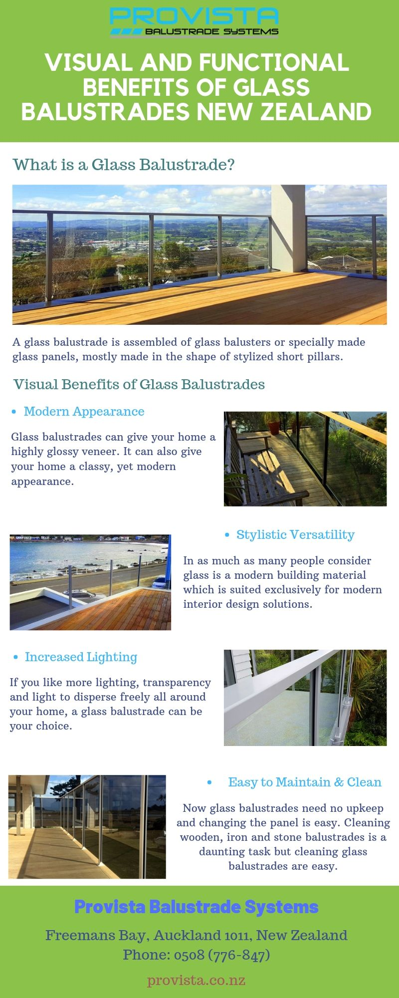 Visual and Functional Benefits of Glass Balustrades New Zealand The benefits of using glass balustrades New Zealand are many. Glass balustrade improves your home's look and increases your home's value on the seller's market. For more details, visit this link: https://bit.ly/2XRVohg