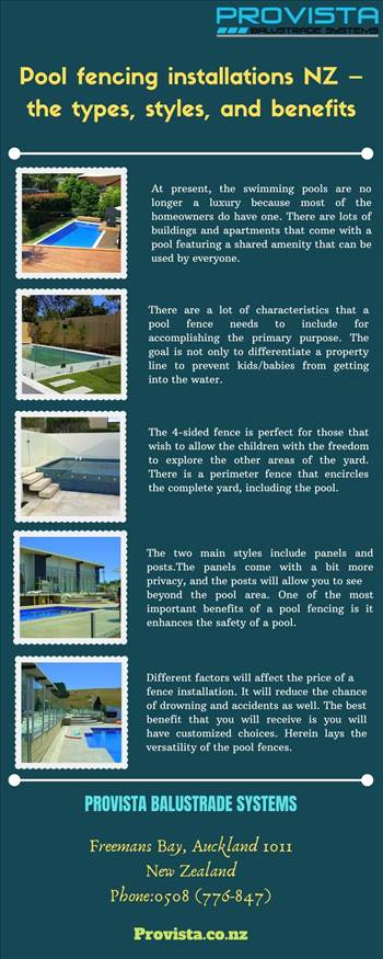 Pool fencing installations NZ – the types, styles, and benefits - When it comes to choosing the pool fencing installations NZ, you will have a lot of options. For those that are looking to get a natural appeal, you can opt for wood. For more details, visit this link: https://bit.ly/2I5B8n1\r\n