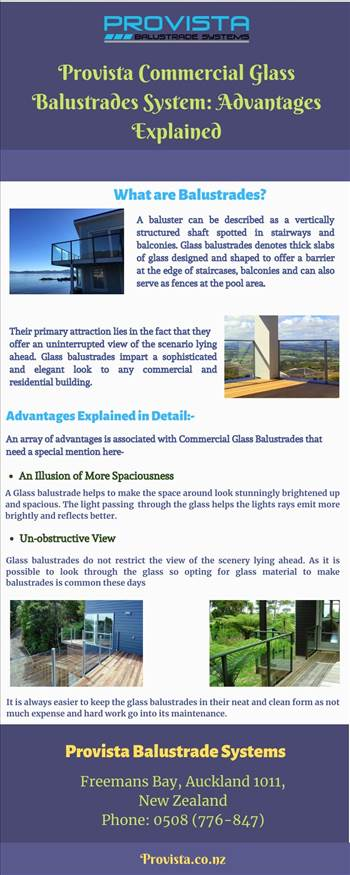 Provista Commercial Glass Balustrades System: Advantages Explained - Readers will know the importance of installing glass balustrades at the office, shops and other commercial buildings. Provista Balustrade System enjoys better reviews and ratings compared to others in the market. For more details, visit: https://bit.ly/2F