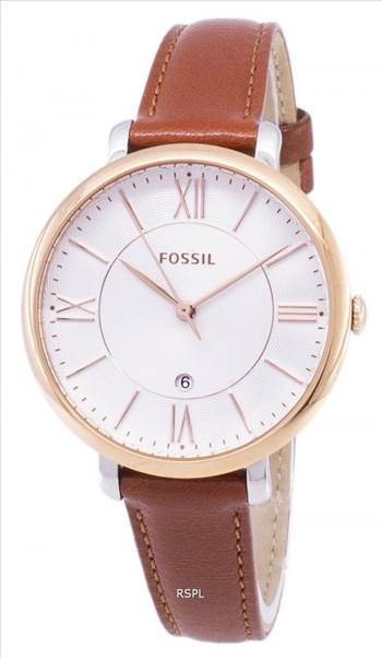 Fossil Jacqueline Silver Dial Brown Leather ES3842 Womens Watch ZETA.jpg by zetawatches