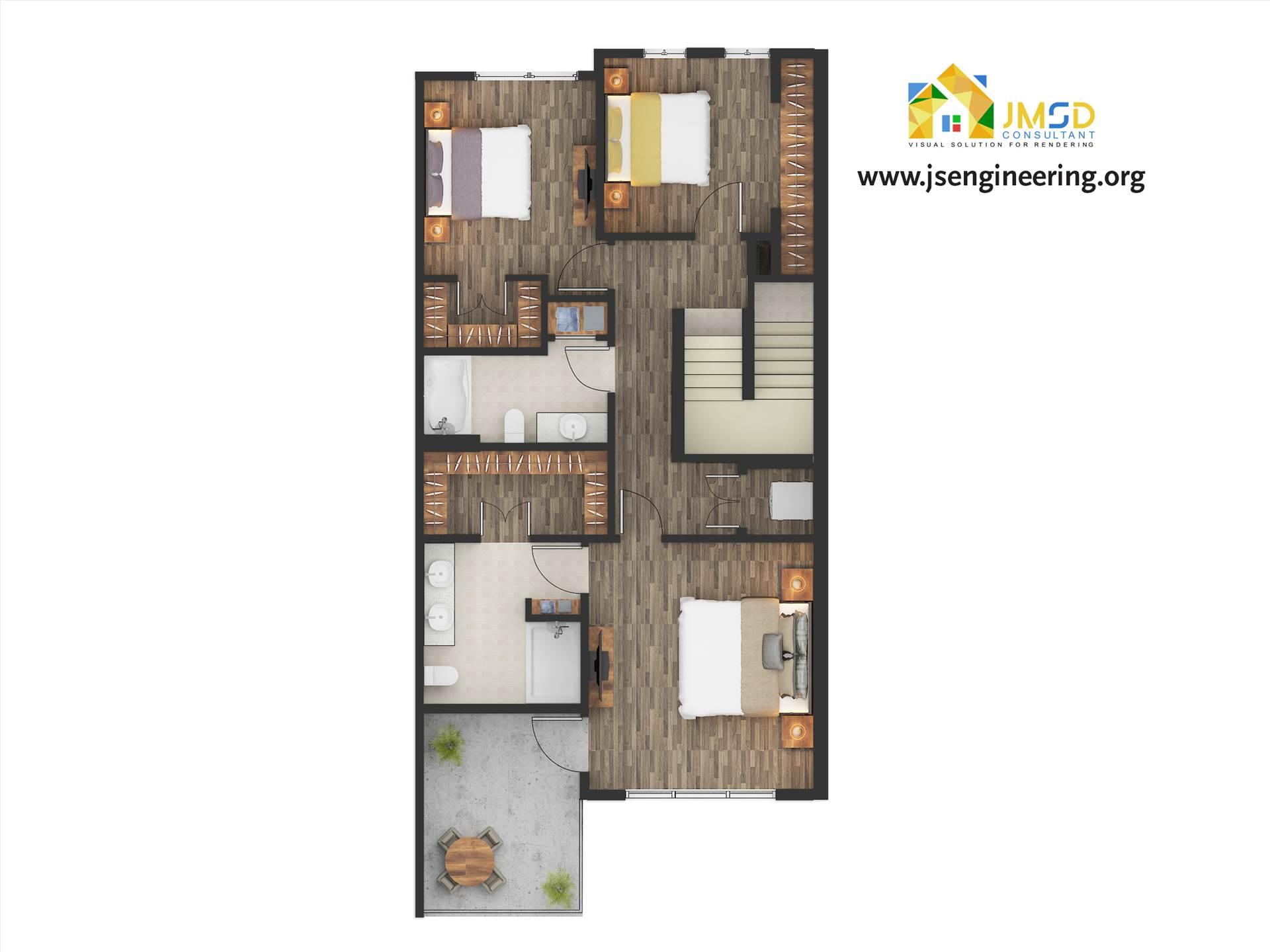Floor Plan Design Services Color 2D Floor Plan Rendering for Marketing. by JMSDCONSULTANT