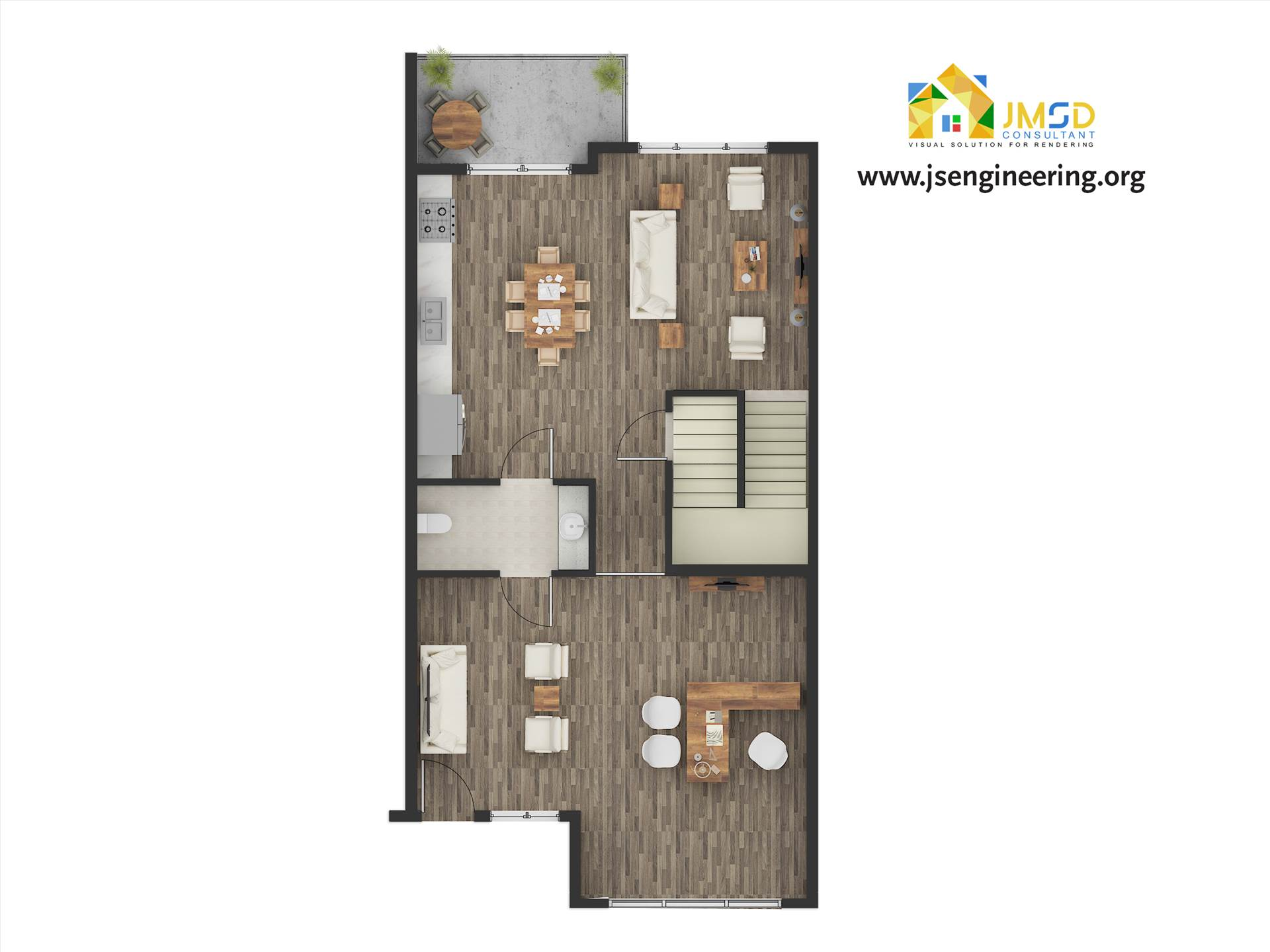 Floor Plan Rendering Services Color 2D Floor Plan Rendering for Marketing. by JMSDCONSULTANT