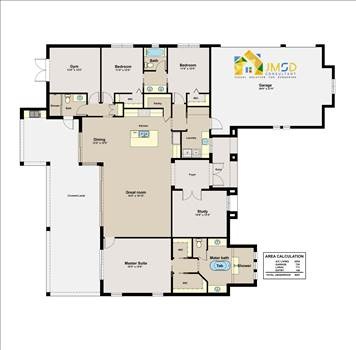 2D Floor Plan Rendering for Home in Naples Florida by JMSDCONSULTANT