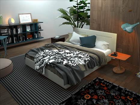 Modern Bedroom 3D Interior Rendering Berlin Germany by JMSDCONSULTANT