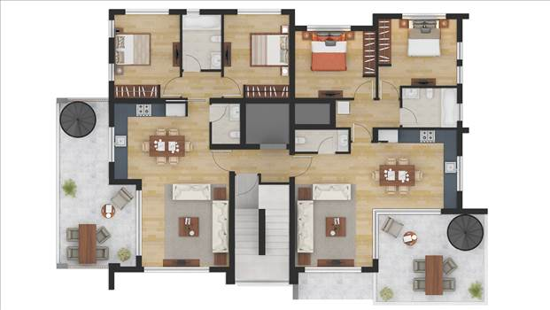 Color Floor Plan Rendering Services Los Angeles CA by JMSDCONSULTANT