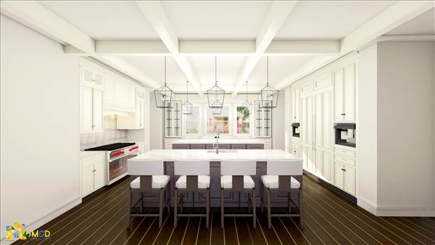 Kitchen architectural 3d interior rendering los angeles by JMSDCONSULTANT