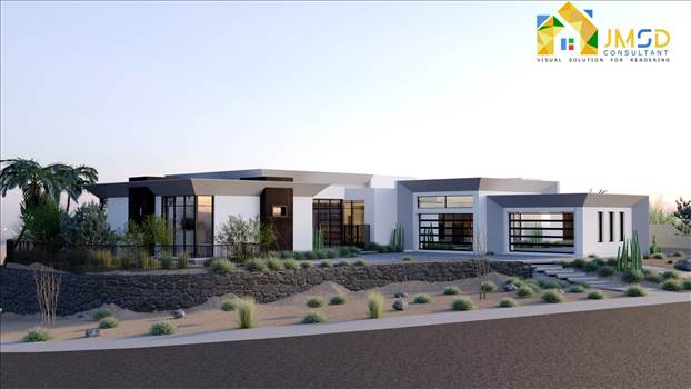3D Property Rendering for Exterior Design of Modern Villa San Antonio Texas by JMSDCONSULTANT