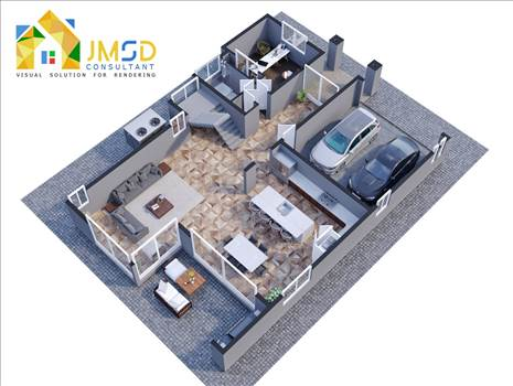 3D Home Floor Plan Rendering Services by JMSDCONSULTANT