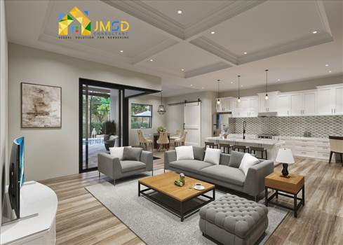 3D Interior Rendering Services for Family Room and Kitchen Design by JMSDCONSULTANT