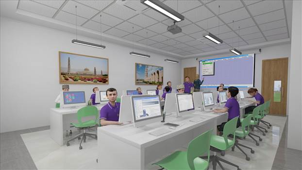 3d interior rendering services Muscat Oman for computer lab by JMSDCONSULTANT