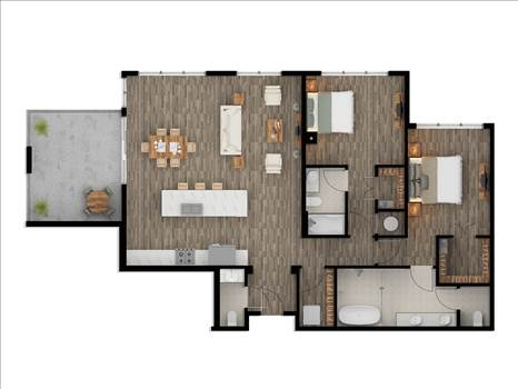 2D Color Floor Plan Rendering Los Angeles - 3D Rendering Services in both 2D and 3D Floor Plan Rendering like House floor plans, Building floor plans, office floor plan, kitchen floor plan For the client's choice. We take utmost care of sticking to the dimensions given by our clients.