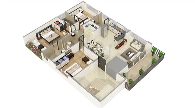Photorealistic 3D Floor Plan Renderings Services - 3D Floor Plan Rendering Services are a great way of intuitive 3D visualization of rooms, furniture elements, and decoration of your proposed development.