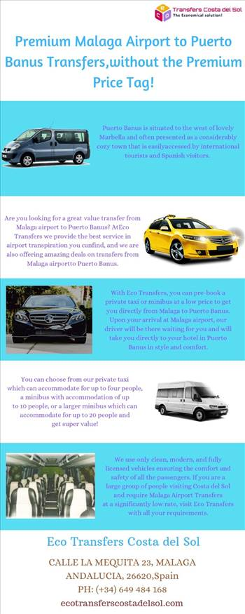Premium Malaga Airport to Puerto Banus Transfers, without the Premium Price Tag!   - At Eco Transfers we provide the best service in airport transpiration you can find, and we are also offering amazing deals on transfers from Malaga airport to Puerto Banus. For more details, visit this link: https://bit.ly/2NogRNk\r\n