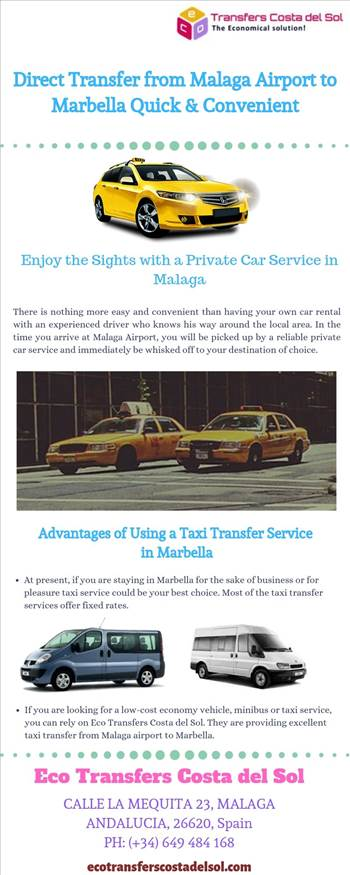 Direct Transfer from Malaga Airport to Marbella Quick \u0026 Convenient - Direct transfer from Malaga airport to Marbella with a private taxi or minibus will help you with your luggage and take you directly to your destination. Competitive rate maximum comfort. For more details, visit this link: https://bit.ly/2ZOoO1n\r\n