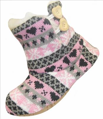 Ladies KNitted Boots Pink.JPG by Thingimijigs