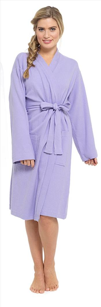 Ladies Waffle Dressing Gown Purple LN560A.jpg by Thingimijigs