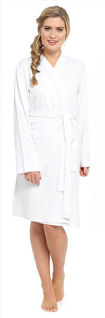 Ladies Waffle Dressing Gown White LN560A.jpg by Thingimijigs