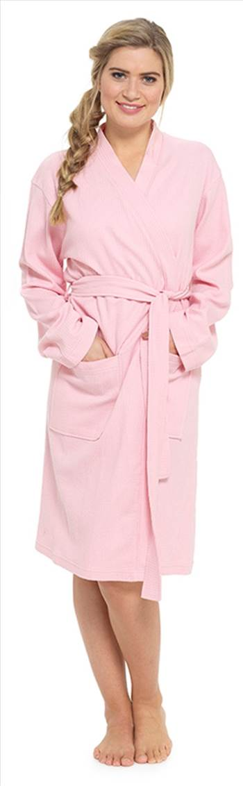 Ladies Waffle Dressing Gown Pink LN560A.jpg by Thingimijigs