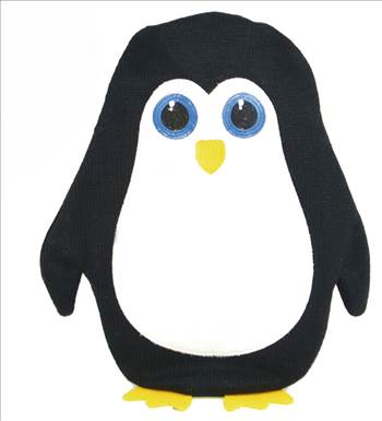 HH0243 Black Penguin HOt Water Bottle.jpg by Thingimijigs
