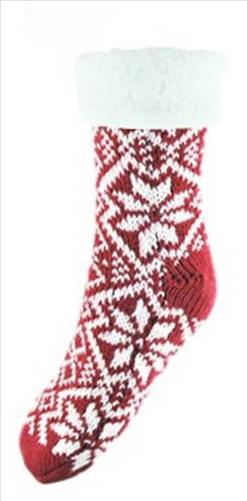 chunky knit fairisle socks Red.jpg by Thingimijigs