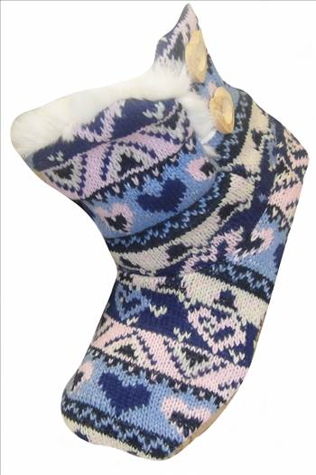 Ladies KNitted Boots Blue a.JPG by Thingimijigs