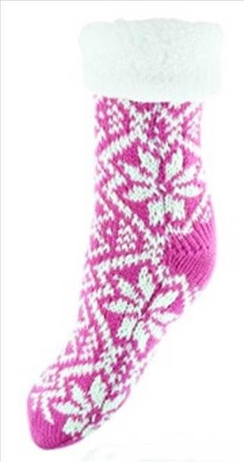 chunky knit fairisle socks Pink.jpg by Thingimijigs