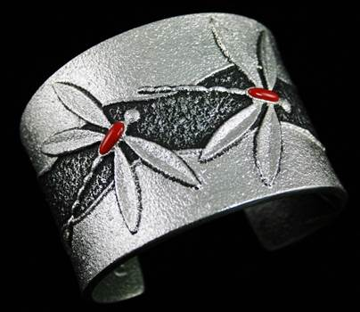 Darryl Dean Begay Rare Gem Grade Mediterranean Coral Dragonfly Design Double Sided Bracelet by Turquoisedirect