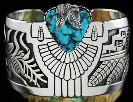 Roy Talahaftewa Rare Overlay Bracelet: Turquoise Direct by Turquoisedirect