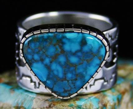 Dina Huntinghorse Rare Gem Grade Lone Mountain Spiderweb Turquoise Solid 14K Gold Over Sterling Silver Ring by Turquoisedirect