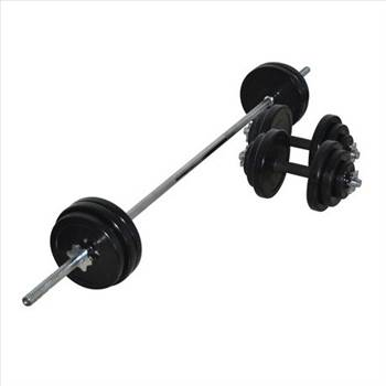 65KG RUBBER BARBELL & DUMBBELL COMBO SET by gymsportz