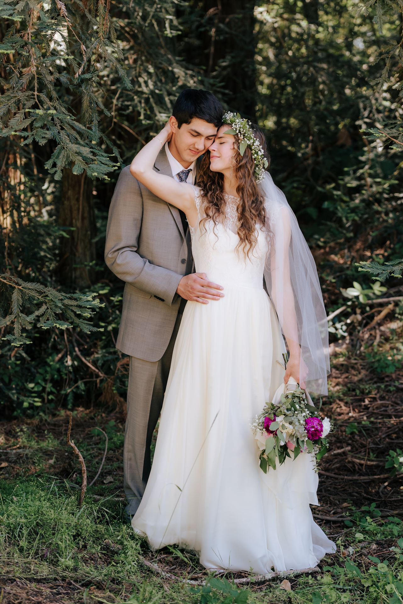FW-5983.JPG Mt Madonna wedding in the redwoods outside of Watsonville, California with a romantic and classic vibe by sarah williams of mirror's edge photography a san luis obispo wedding photographer.  Bride and groom romantic by Sarah Williams
