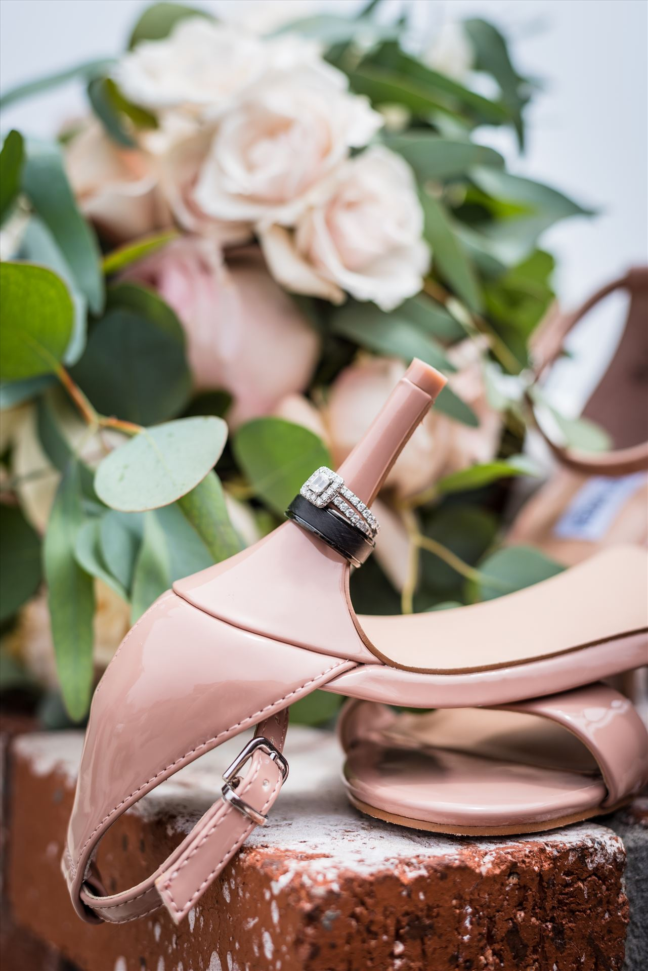 FW-5919.JPG Cayucos California Beach and Bluffs Wedding near Morro Bay and Cambria with romantic chic flair by Mirror's Edge Photography, San Luis Obispo County Wedding Photographer.  Wedding rings, flowers and brides shoes by Sarah Williams