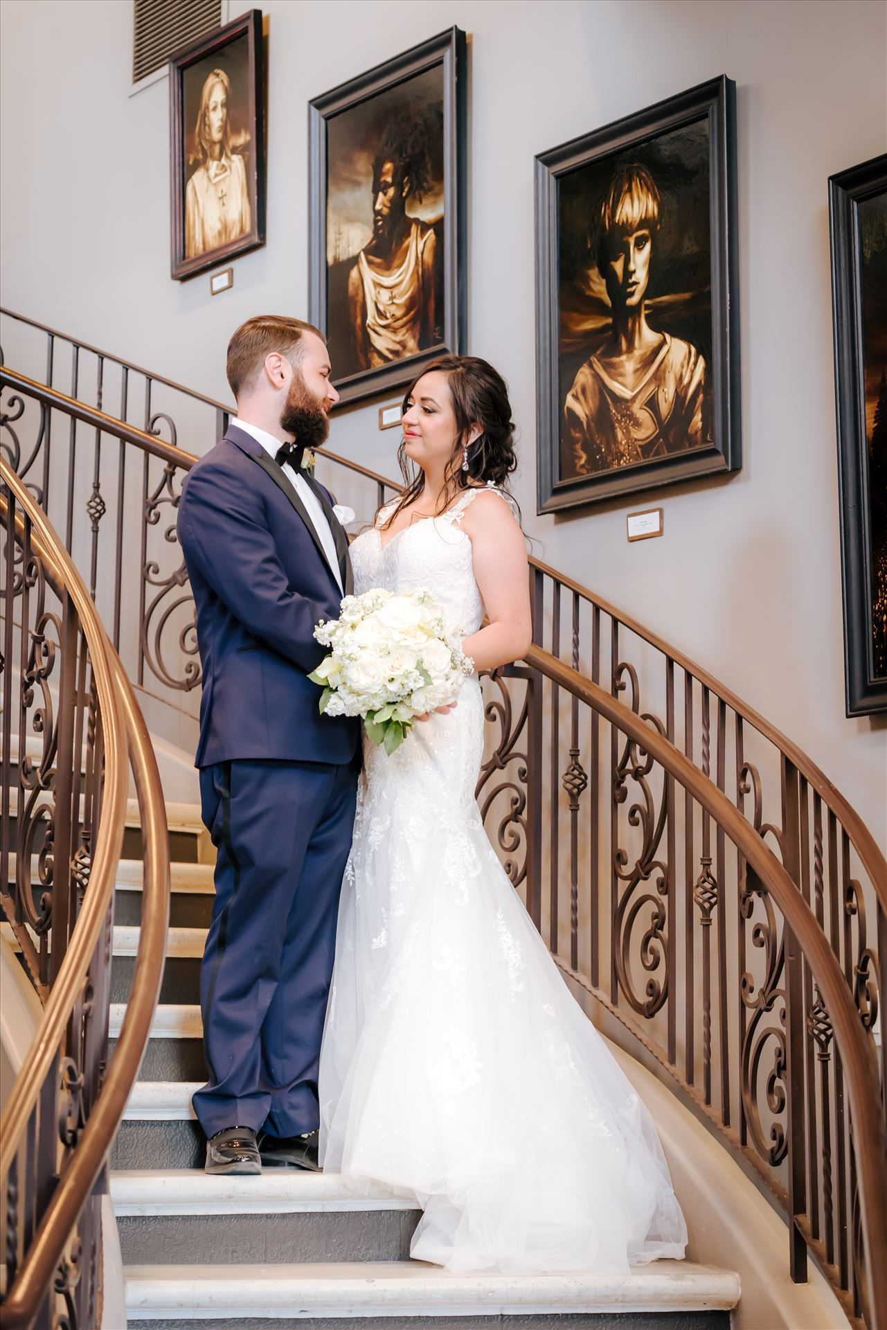 FW-1534.JPG Tooth and Nail Winery elegant and formal wedding in Paso Robles California wine country by Mirror's Edge Photography, San Luis Obispo County Wedding Photographer.  Bride and Groom on Tooth and Nail Staircase. by Sarah Williams