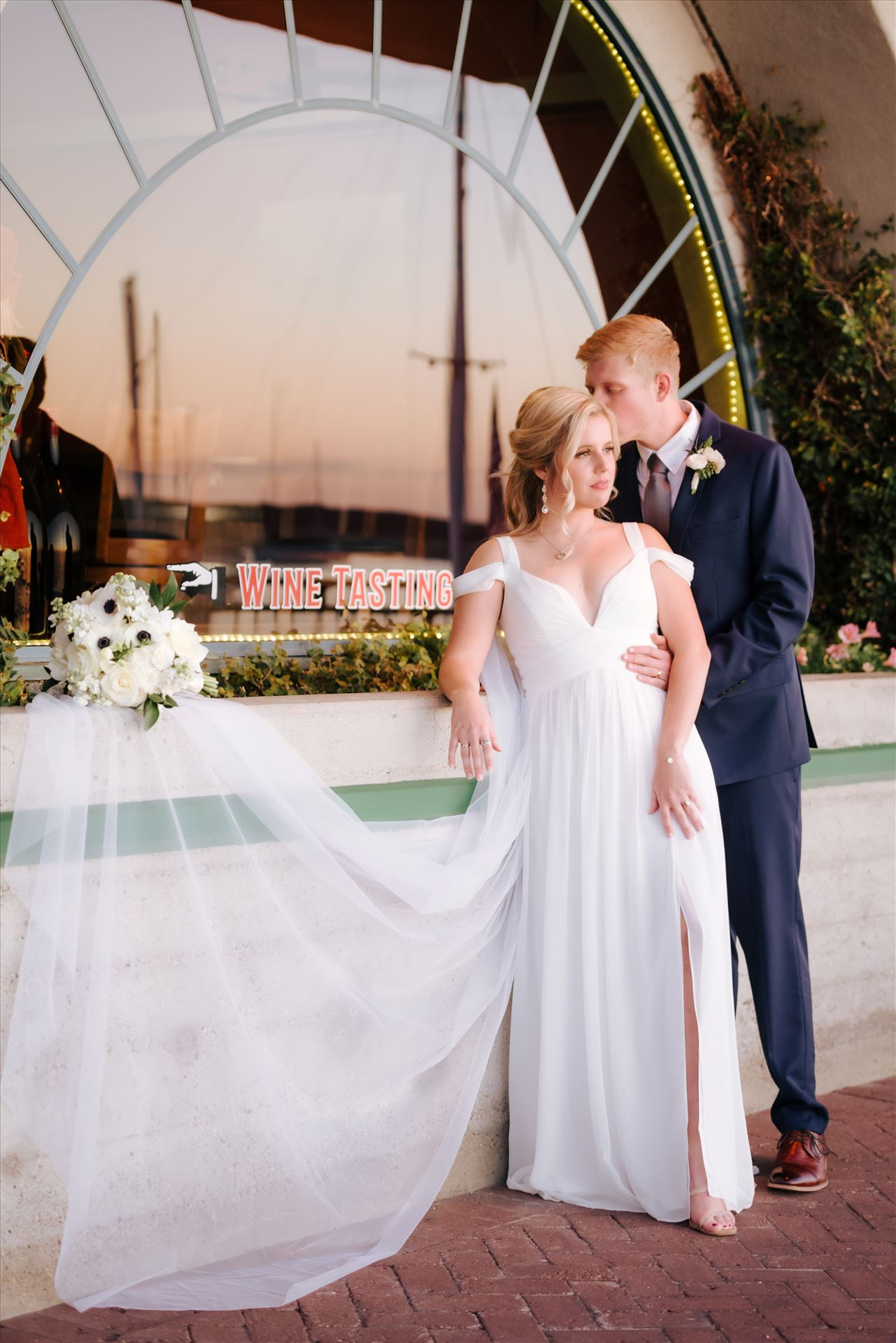 FW-8520.JPG Sarah Williams of Mirror's Edge Photography, a San Luis Obispo Wedding and Engagement Photographer, captures Ryan and Joanna's wedding at the iconic Windows on the Water Restaurant in Morro Bay, California.  Bride and Groom at sunset by Sarah Williams