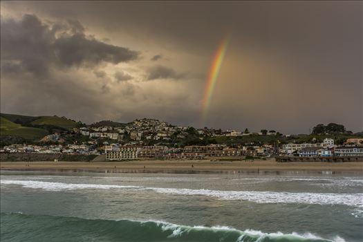 End of the Rainbow Pismo.jpg - Rainbow's end over downtown Pismo Beach - where ocean and sand meet stormy sky.