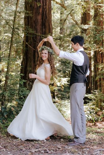 FW-6667.JPG - Mt Madonna wedding in the redwoods outside of Watsonville, California with a romantic and classic vibe by sarah williams of mirror\u0027s edge photography a san luis obispo wedding photographer.  Bride and Groom dancing in the forest