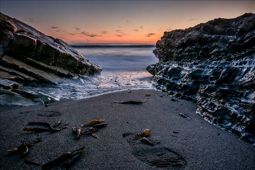 Between Two Rocks and the Sea.jpg - Soft ocean at sunset in Pismo Beach, California