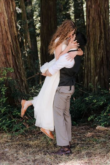 FW-6277.JPG - Mt Madonna wedding in the redwoods outside of Watsonville, California with a romantic and classic vibe by sarah williams of mirror\u0027s edge photography a san luis obispo wedding photographer.  Groom lifts Bride