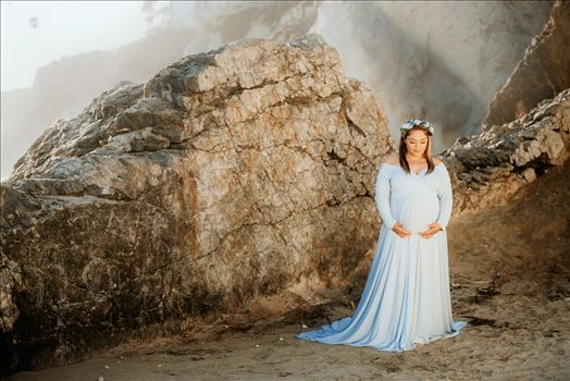 Sarah Williams of Mirror's Edge Photography, a San Luis Obispo Wedding, Luxury Boudoir and Maternity Photographer, captures Breanna's magical sunset maternity session on Pismo Beach on the Central Coast of California.
