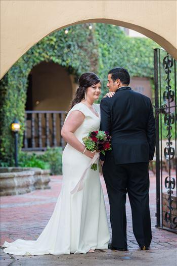 Mary and Alejandro 19 - Wedding photography at the Historic Santa Maria Inn in Santa Maria, California by Mirror\u0027s Edge Photography. Bride and Groom Hidden Courtyard.