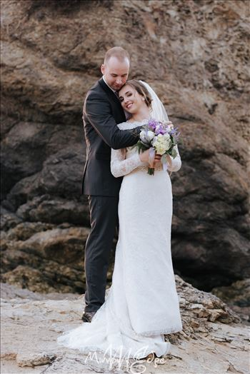 Shell Beach Wedding Bride and Groom by Sarah Williams